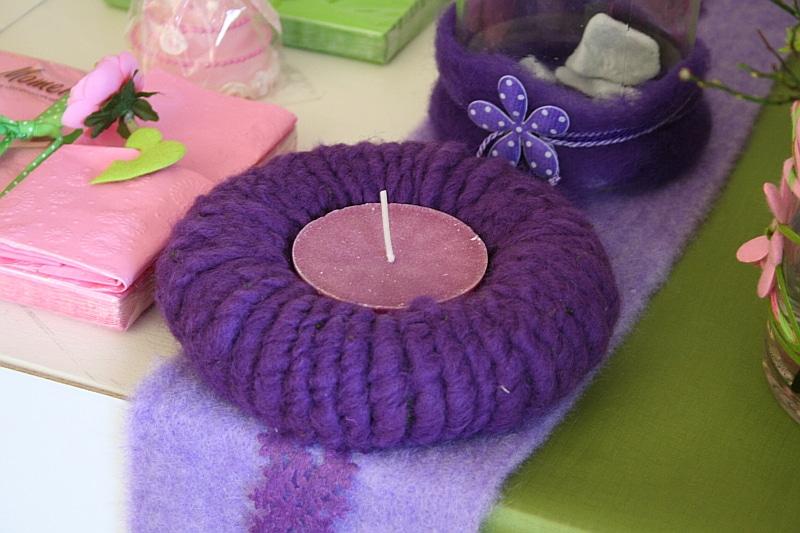 kerzenring mit filzwolle in lila filzkordel discount. Black Bedroom Furniture Sets. Home Design Ideas