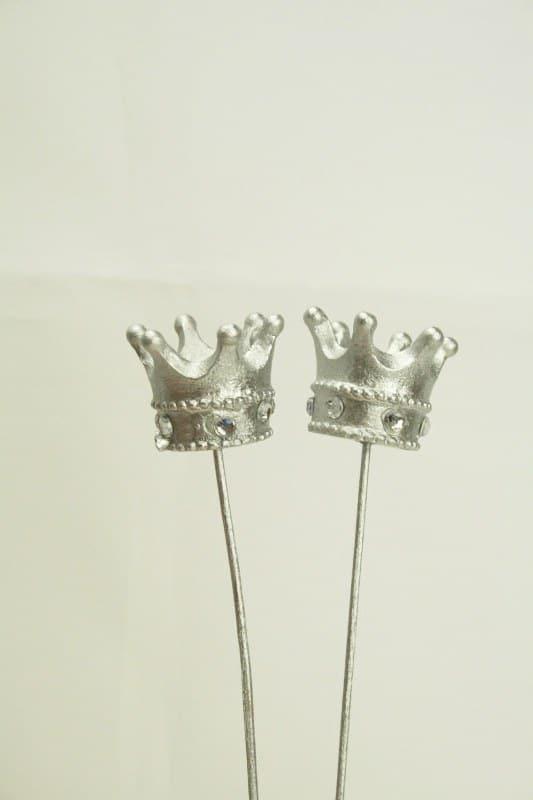 Dekostecker mit silberner krone ca 21 cm filzkordel for Dekostecker weihnachten