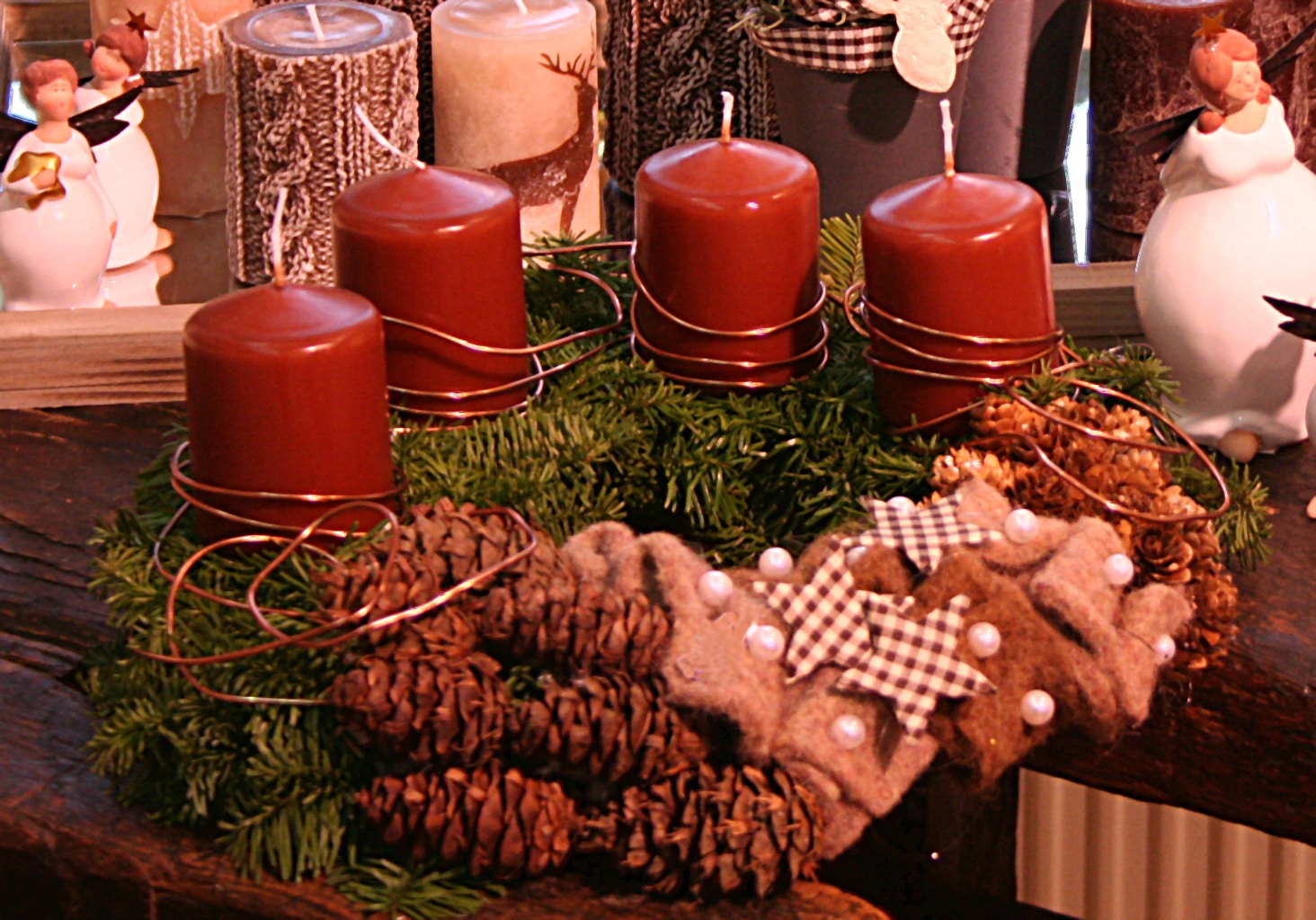 Adventskranz braun mit wollvlies filzkordel discount for Adventsdeko bilder