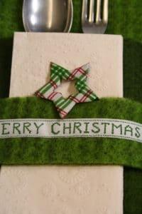 Bestecktasche aus Wollvlies, grün, merry Christmas