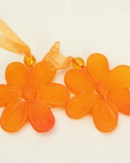 Großer Blüten-Anhänger mit Organzaband, orange - fruehjahr, everyday-dekoaccessoires, dekoaccessoires