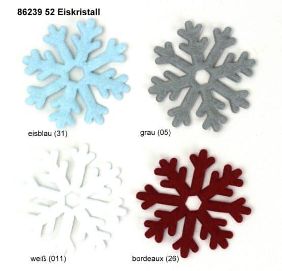 Eiskristalle 32 + 52mm, aus Filz ausgestanzt - weihnachten, filzaccessoires