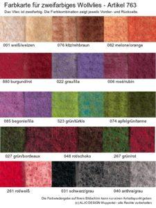 Farbkarte Wollvlies zweifarbig 763-2