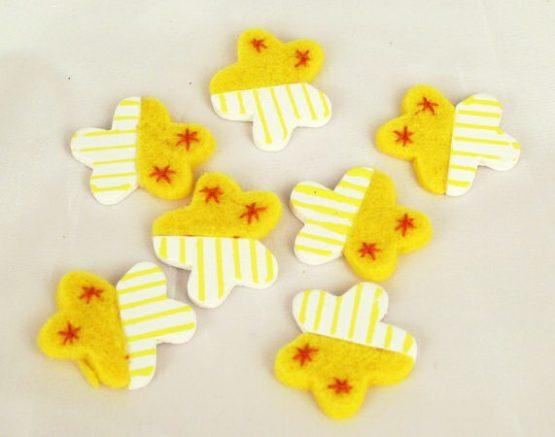 Streuartikel - Blüten aus Filz und Holz, gelb - fruehjahr, everyday-dekoaccessoires, dekoaccessoires