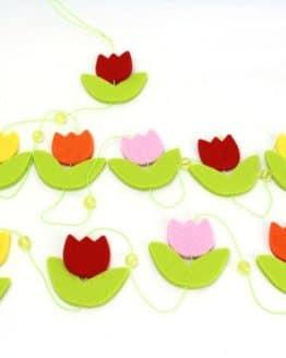 Filzblumen-Girlande, bunt, ca. 200 cm lang - fruehjahr-filzaccessoires, filzaccessoires