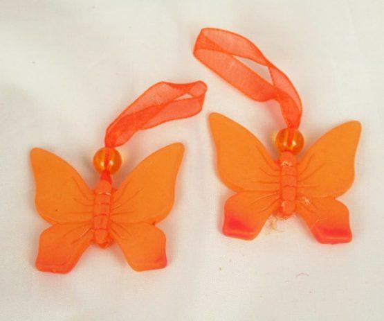 Schmetterling-Anhänger mit Organzaband, orange - fruehjahr, everyday-dekoaccessoires, dekoaccessoires