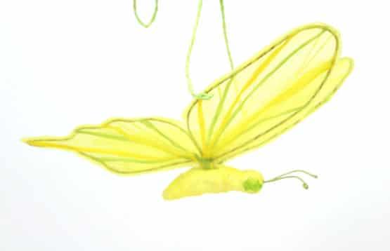 Schmetterling gelb-grün, ca 17 cm lang - fruehjahr, everyday-dekoaccessoires, dekoaccessoires