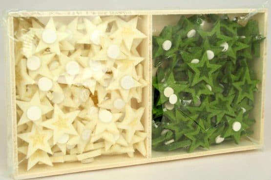 Streuartikel - Sterne aus Filz, creme + grün, Box mit 144 Stück - weihnachten, filzaccessoires