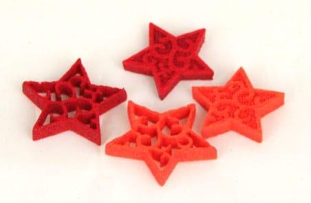 Streuartikel - Sterne aus Filz, Sortiment rot + orange, Box mit 96 Stück - weihnachten, filzaccessoires
