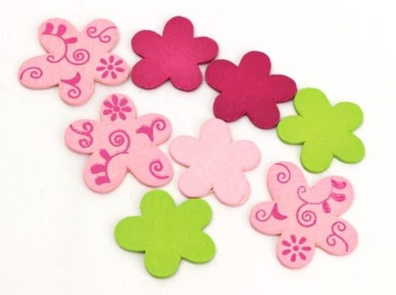 Streublüten aus Holz, grün-rosa-pink, Box m. 180 Stück - fruehjahr, everyday-dekoaccessoires, dekoaccessoires