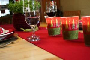 Tischdeko mit Tischläufer aus Filz