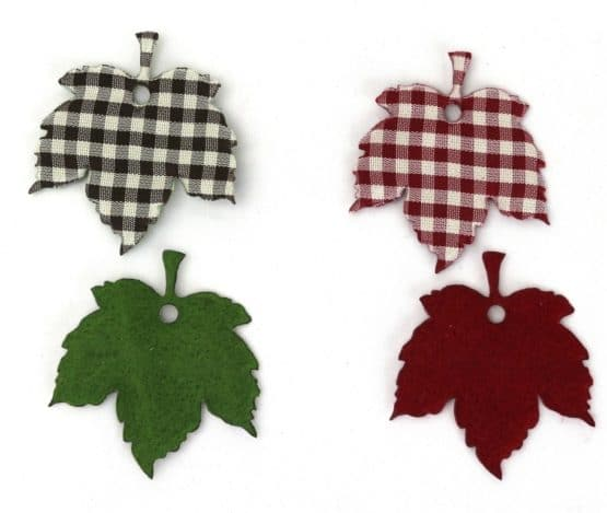 Ahornblätter, 2-farbig-kariert, aus Filz gestanzt - herbst-filzaccessoires, filzaccessoires, everyday-filzaccessoires